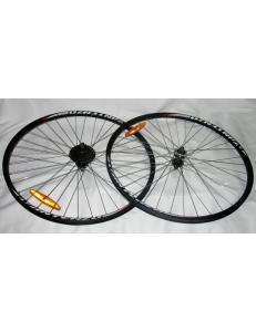 "Комплект колес велосипеда 29"" x 1.5-1.95 36H, под диск, на болтах + трещетка Shimano 7x 14-28"