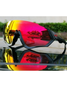 Очки Oakley Flight Jacket, черный/красный, поляризация, линзы Prizm Road, 3 лины