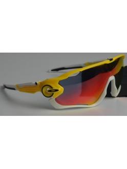Очки Oakley JawBreaker, цвет желтый/белый, поляризация, линзы Prizm Road, 5 линз