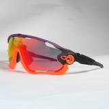 Очки Oakley JawBreaker, цвет фиолет/оранж/черн, поляризация, линзы Prizm Road, 5 линз