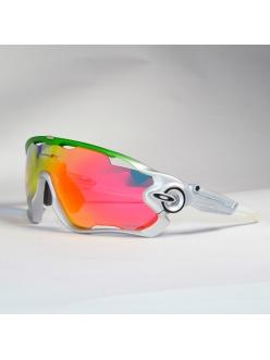 Очки Oakley JawBreaker, цвет серебро/зеленый/белый, поляризация, линзы Prizm Road, 5 линз