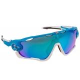 Очки Oakley JawBreaker, цвет синий/белый, поляризация, линзы Prizm Road, 5 линз
