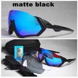 Очки Oakley Flight Jacket, черные, поляризация, 3 сменных линзы, без лого