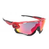 Очки Oakley JawBreaker, цвет красный/черный, поляризация, линзы Prizm Road, 5 линз