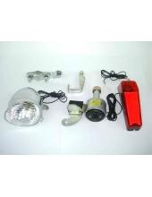 Комплект фара+стоп, динамо-генератор (пластик рассеиватель)