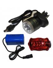Велофара + налобный фонарь Police B02B-T6, zoom, комплект