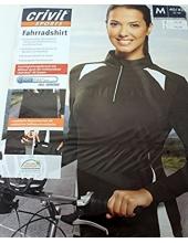 Велофутболка женская длинный рукав Crivit sport черная, модель 49586