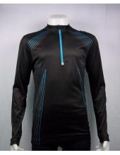 Велофутболка длинный рукав Crivit sport черный/синяя полоса, модель 89251
