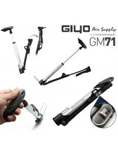 Насос GIYO GM-71, алюминиевый корпус, + манометр, + крепление, + подножка