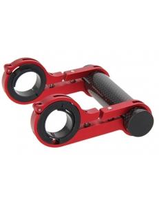 Держатель велокомпьютера, двойной, для руля 25.4 / 31.8 мм, карбон, красный