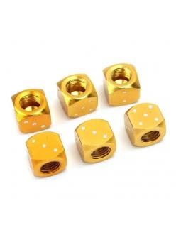Алюминиевый колпачок на ниппель игральные кости, золото
